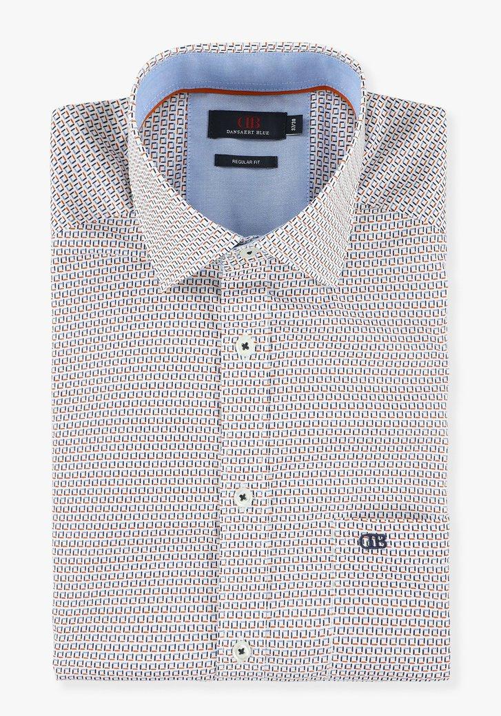 Wit hemd met fijne print - regular fit