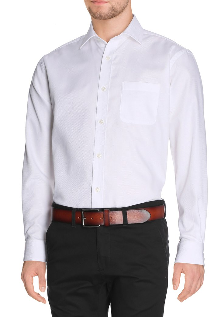 Wit hemd met fijne structuur - regular fit
