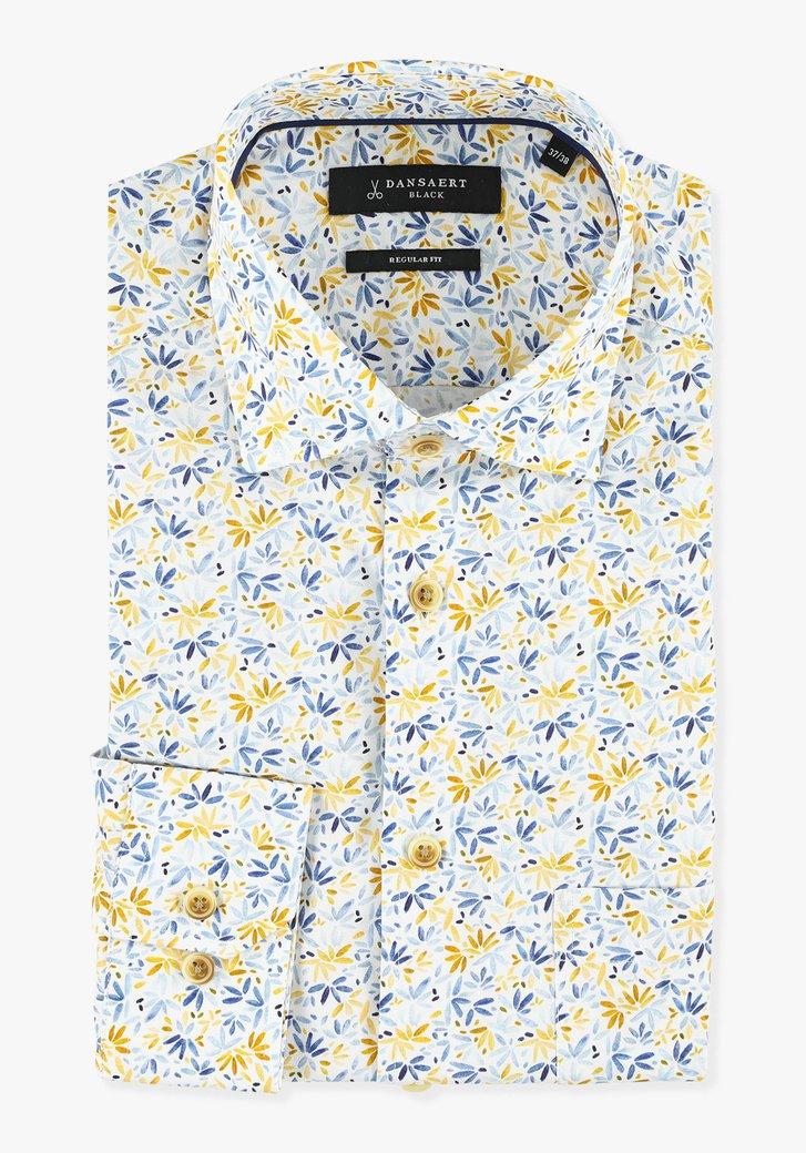 Wit hemd met geel-blauwe bloemen - regular fit