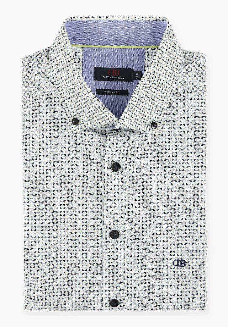 Wit hemd met geel-blauwe print - regular fit