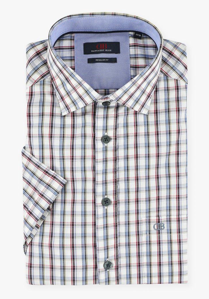 Wit hemd met gekleurd geruit patroon - regular fit
