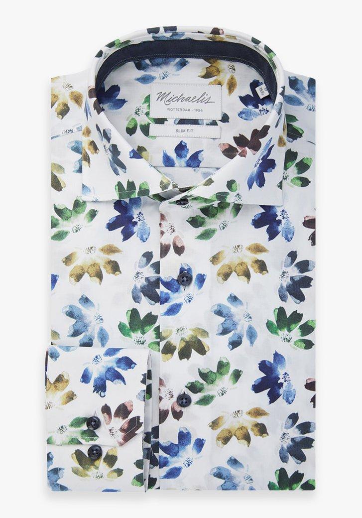 Wit hemd met gekleurde bloemen - slim fit