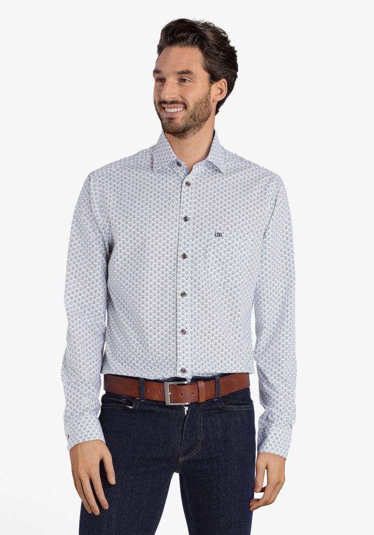 Wit hemd met gekleurde print - regular fit
