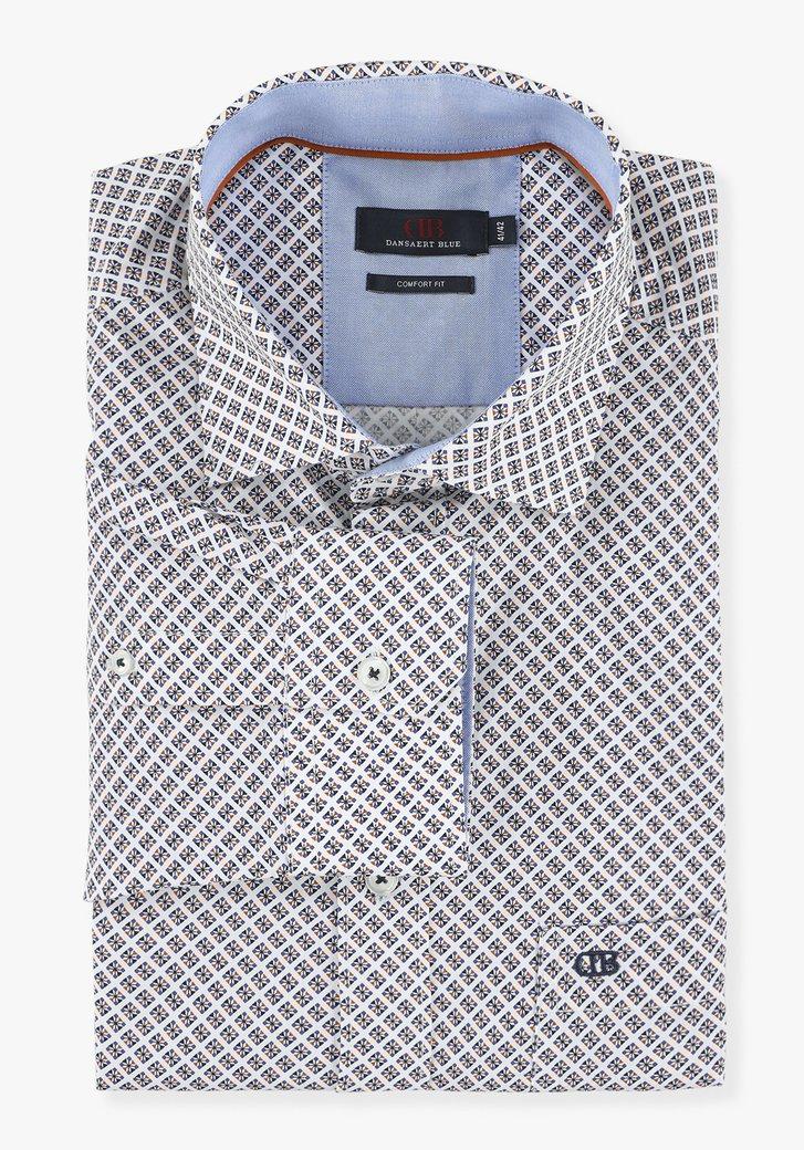 Wit hemd met geometrische print - comfort fit