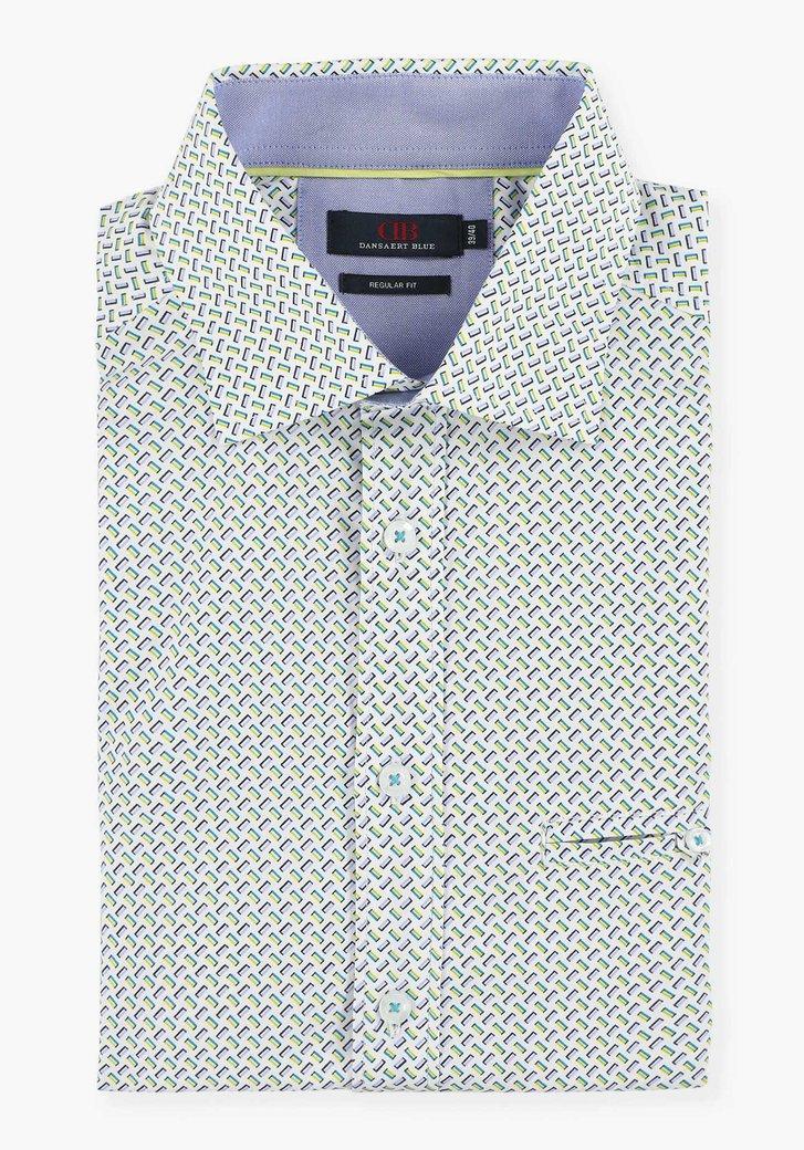 Wit hemd met geometrische print - regular fit