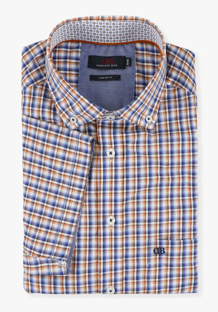 Wit hemd met geruite print - comfort fit
