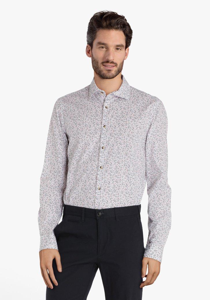Wit hemd met grijze fijne bloemenprint - slim fit