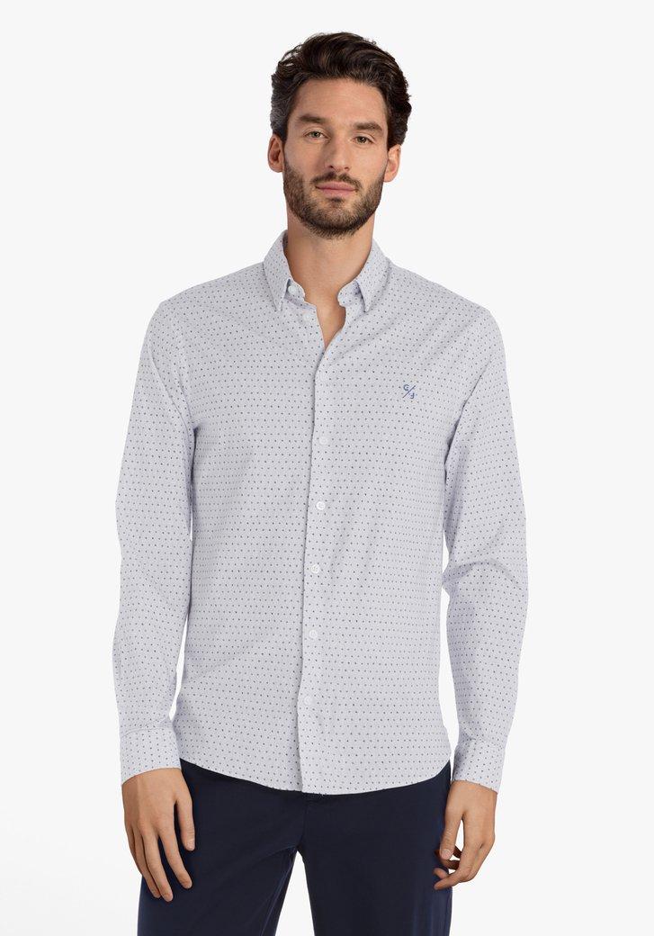 Wit hemd met grijze miniprint – slim fit