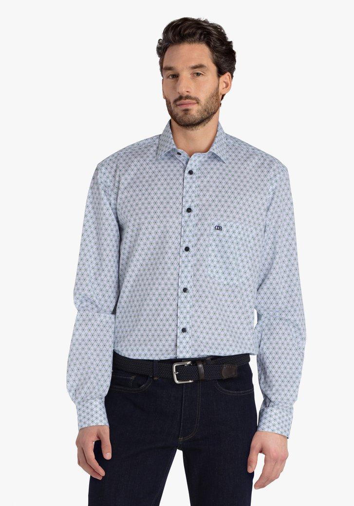 Wit hemd met groene bloemenprint - comfort fit