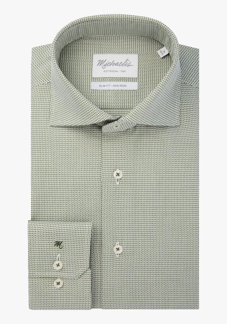 Wit hemd met groene print - slim fit
