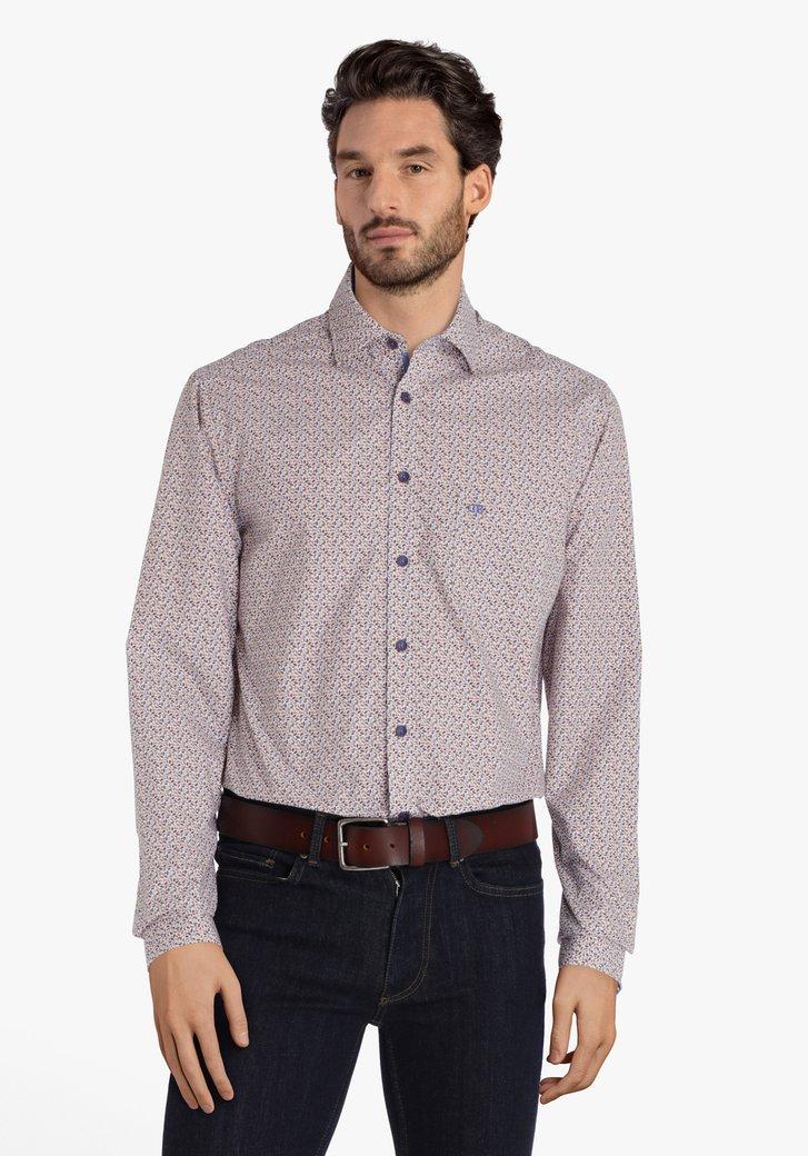 Wit hemd met kleine blauw-bruine print