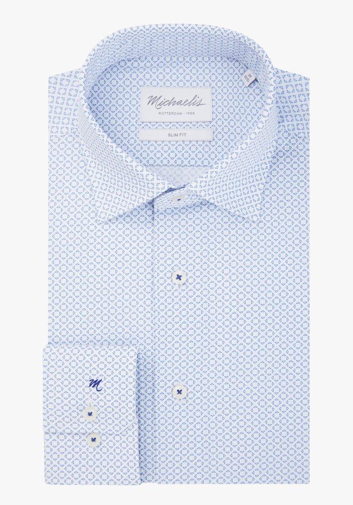 Wit hemd met kleine blauwe driehoekjes - slim fit