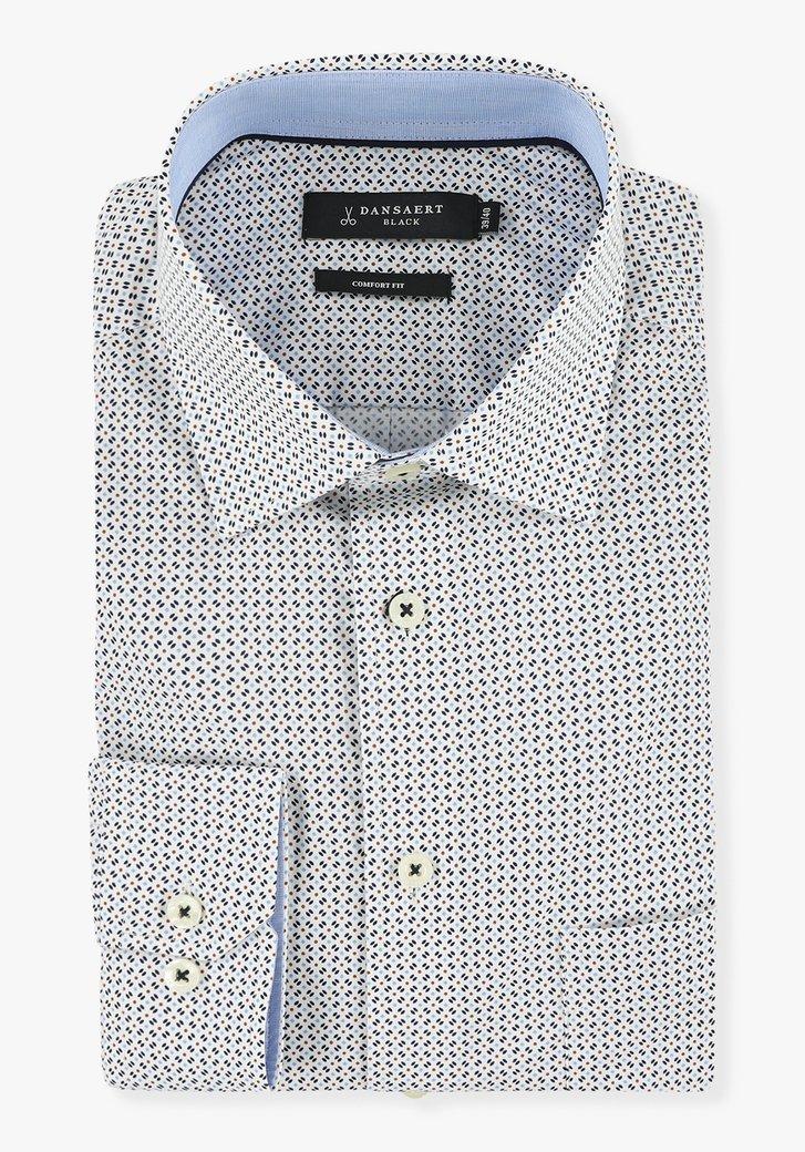 Wit hemd met kleine blauwe print - comfort fit