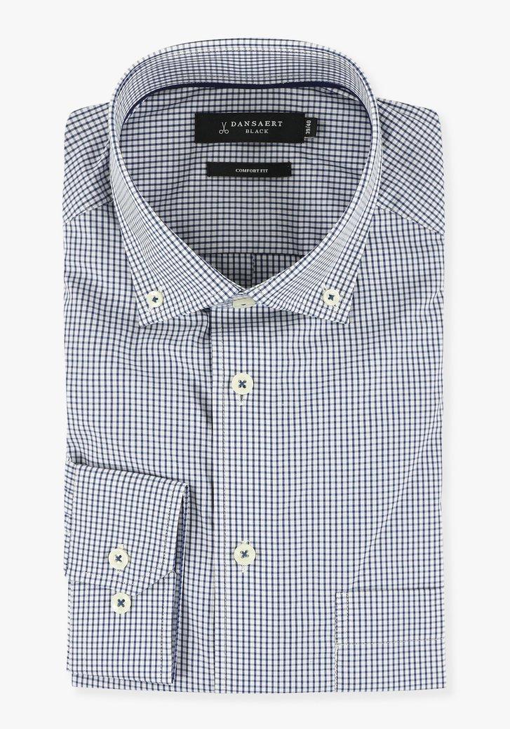 Wit hemd met kleine geruite print - comfort fit