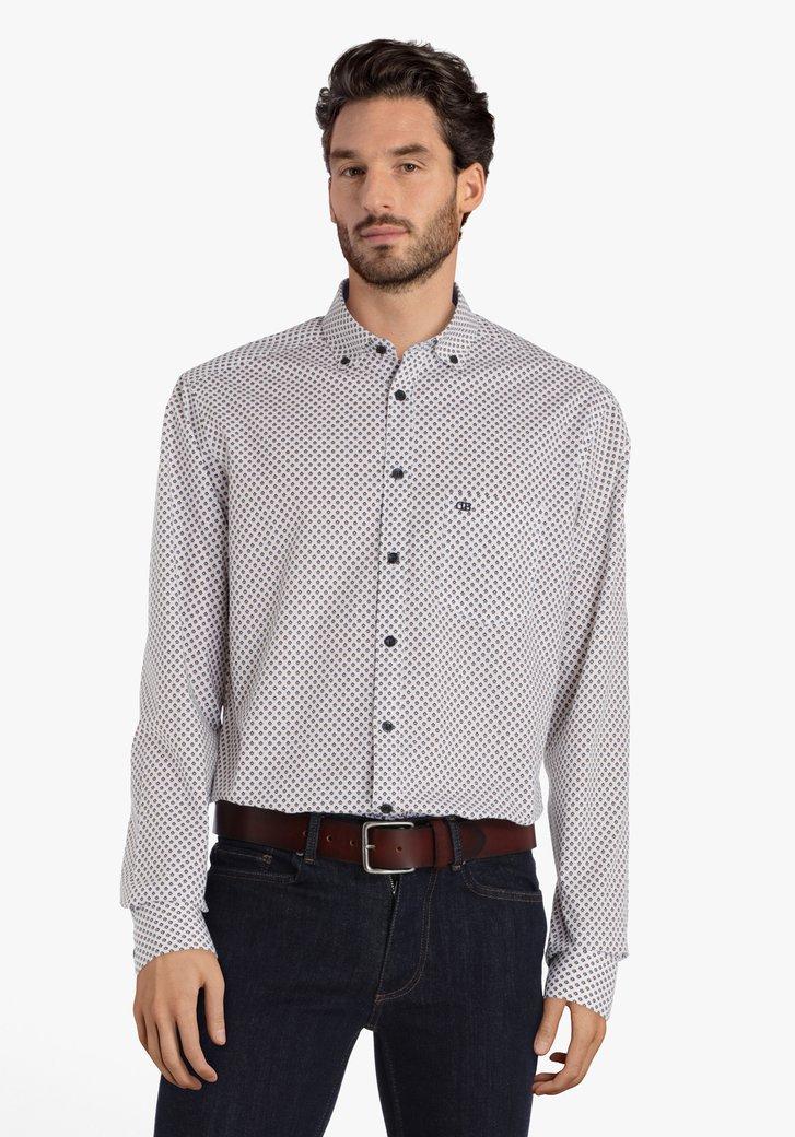 Wit hemd met kleine print - regular fit