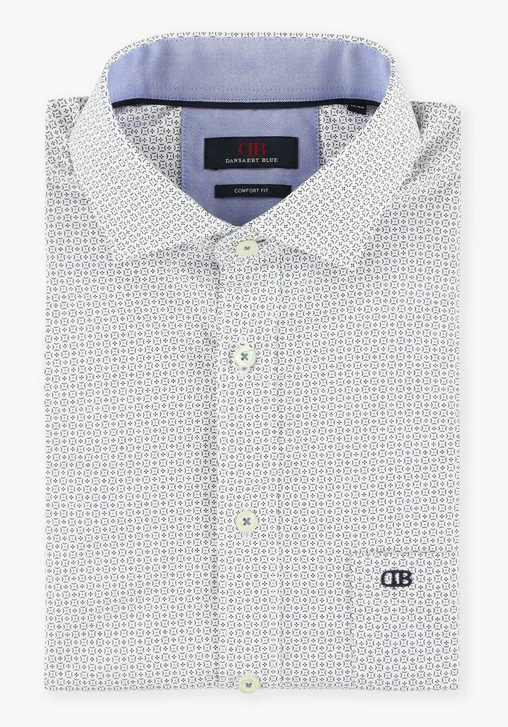 Wit hemd met kleine ronde print - comfort fit