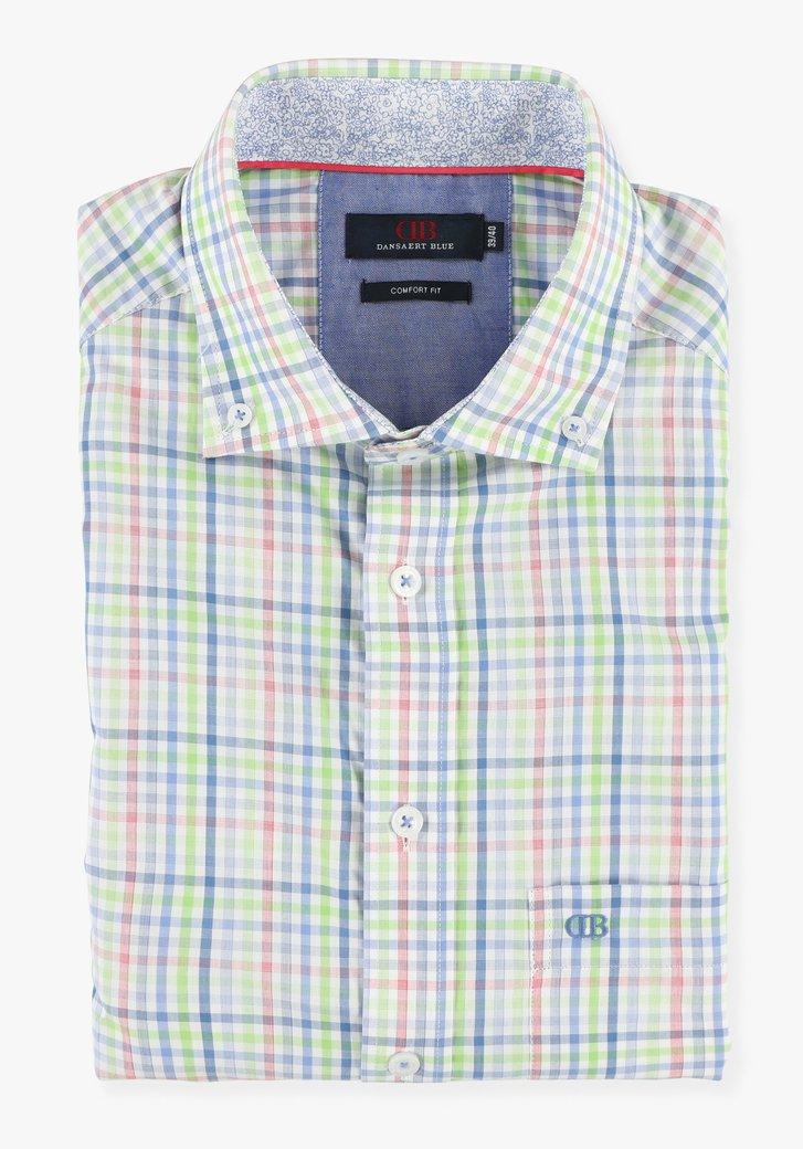Wit hemd met kleurrijk geruit motief - comfort fit