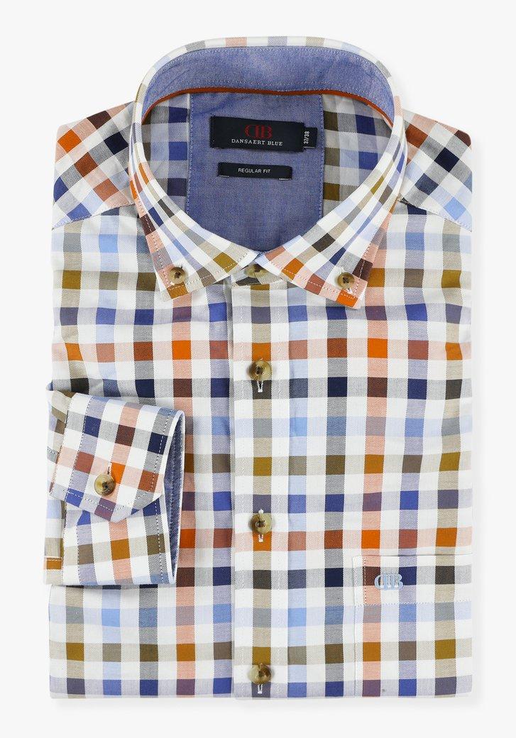 Wit hemd met kleurrijk geruit motief - regular fit