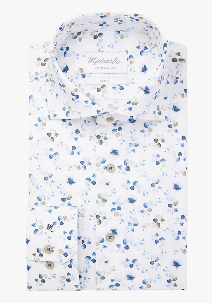 Wit hemd met kleurrijke bladjes- slim fit