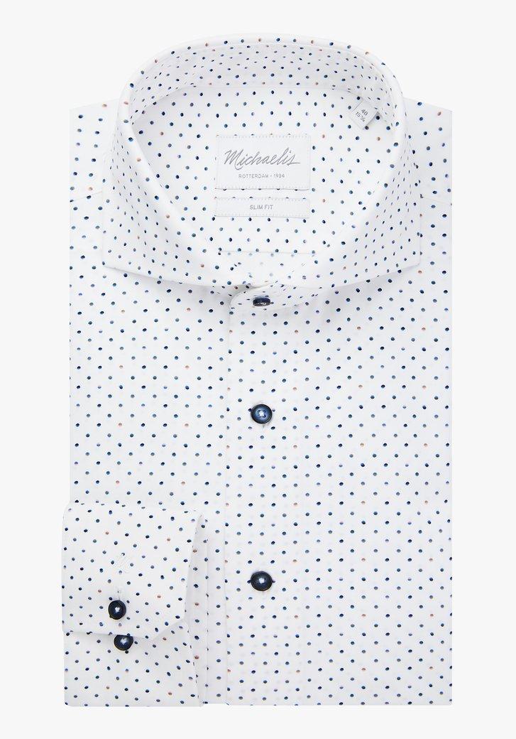 Wit hemd met kleurrijke stippen- slim fit