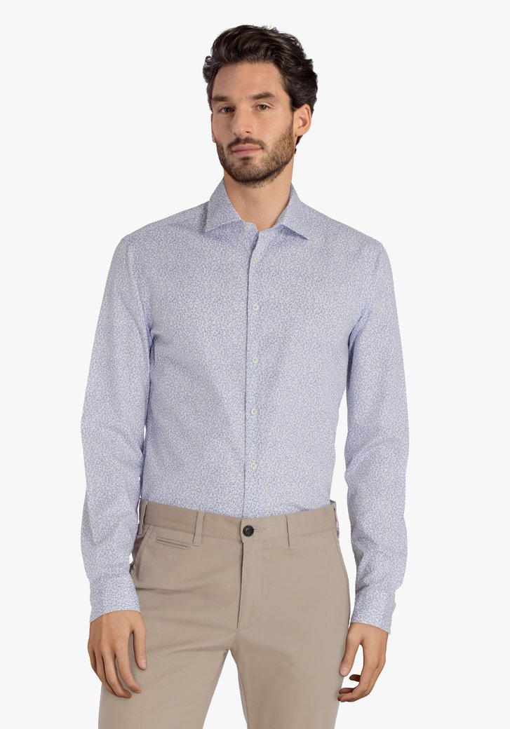 Wit hemd met lichtblauw motief – slim fit
