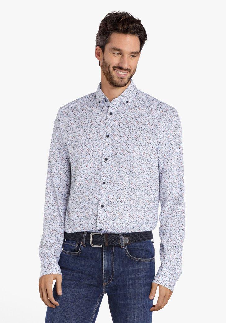 Wit hemd met mini bloemenprint - regular fit