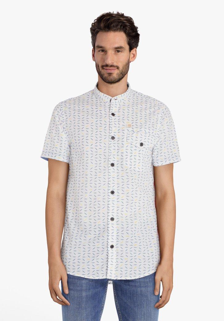 Wit hemd met miniprint en korte mouwen