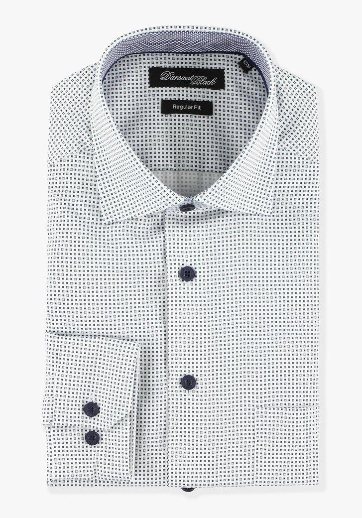 Wit hemd met miniprint - regular fit