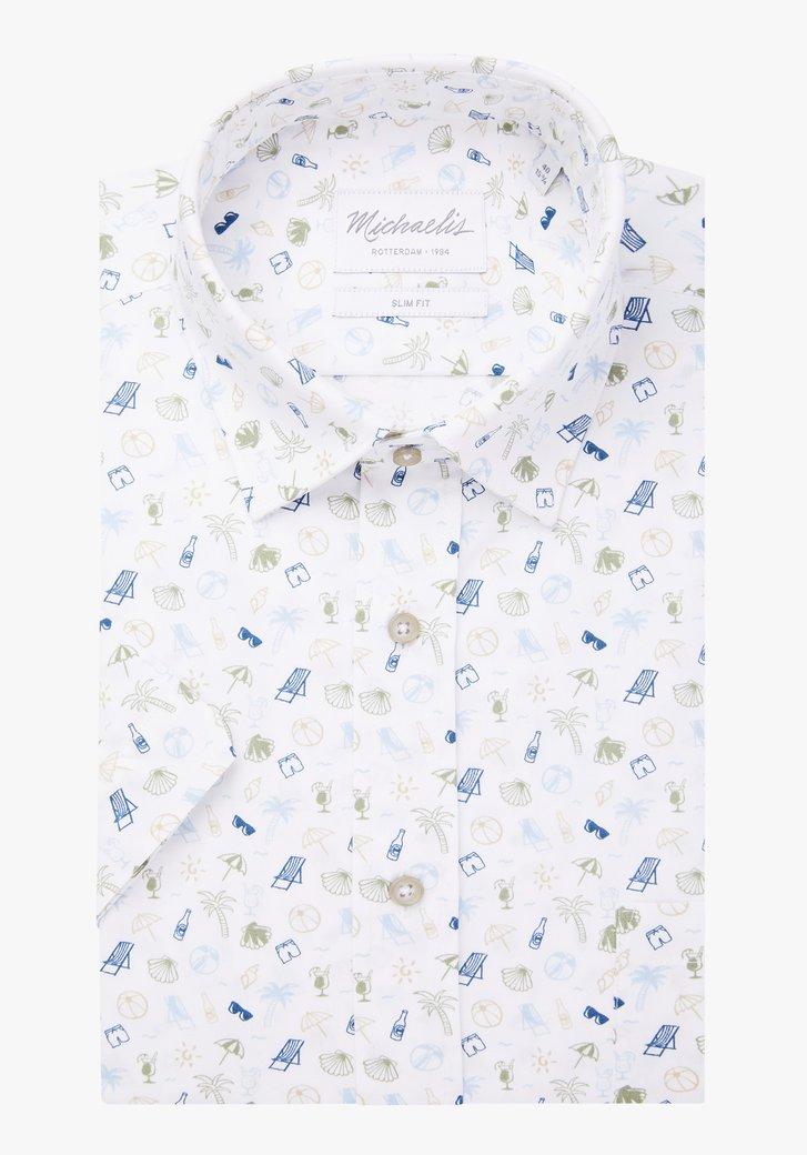 Wit hemd met motief en korte mouwen - slim fit