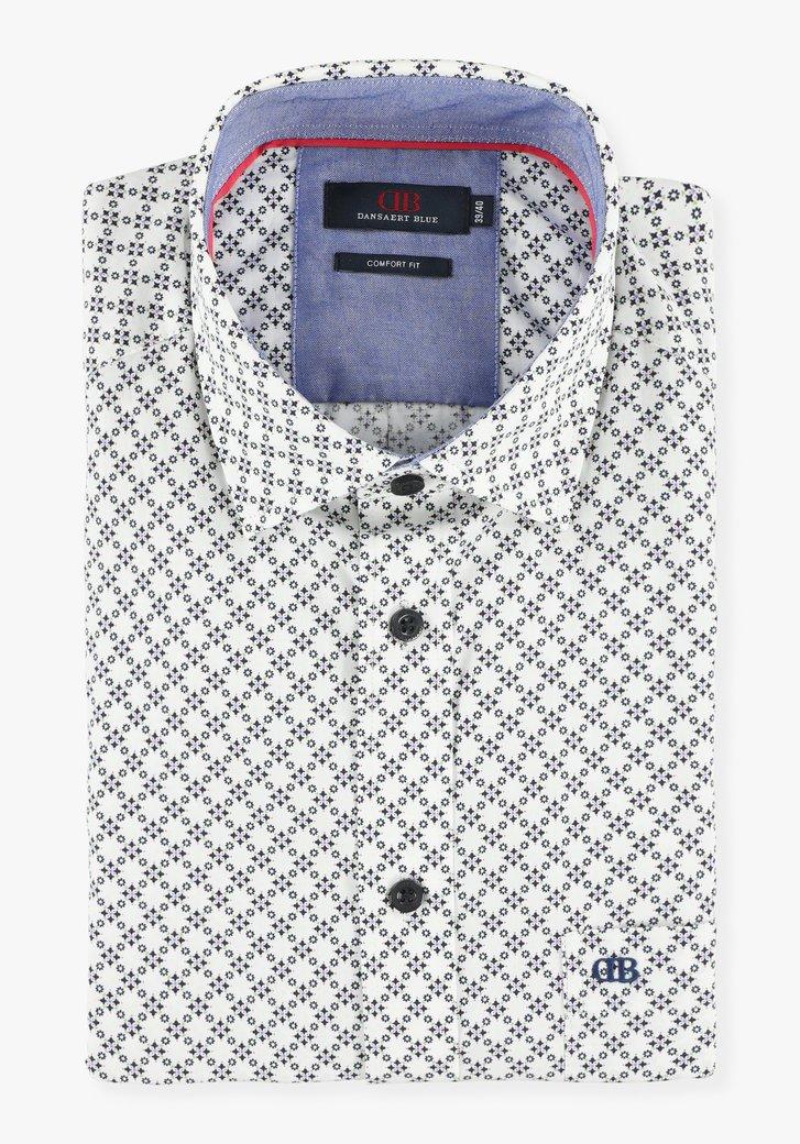 Wit hemd met navy geometrische print - comfort fit