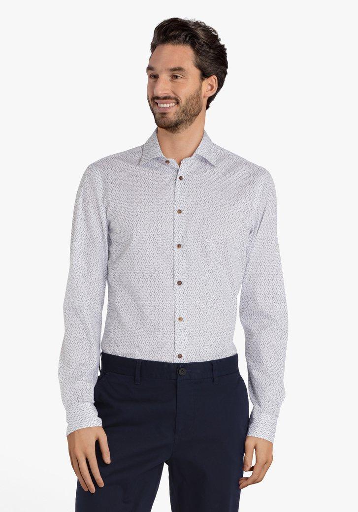 Wit hemd met navy miniprint – slim fit