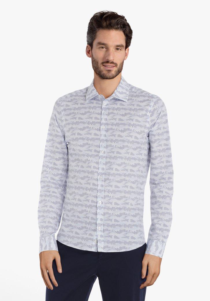 Wit hemd met navy print – slim fit