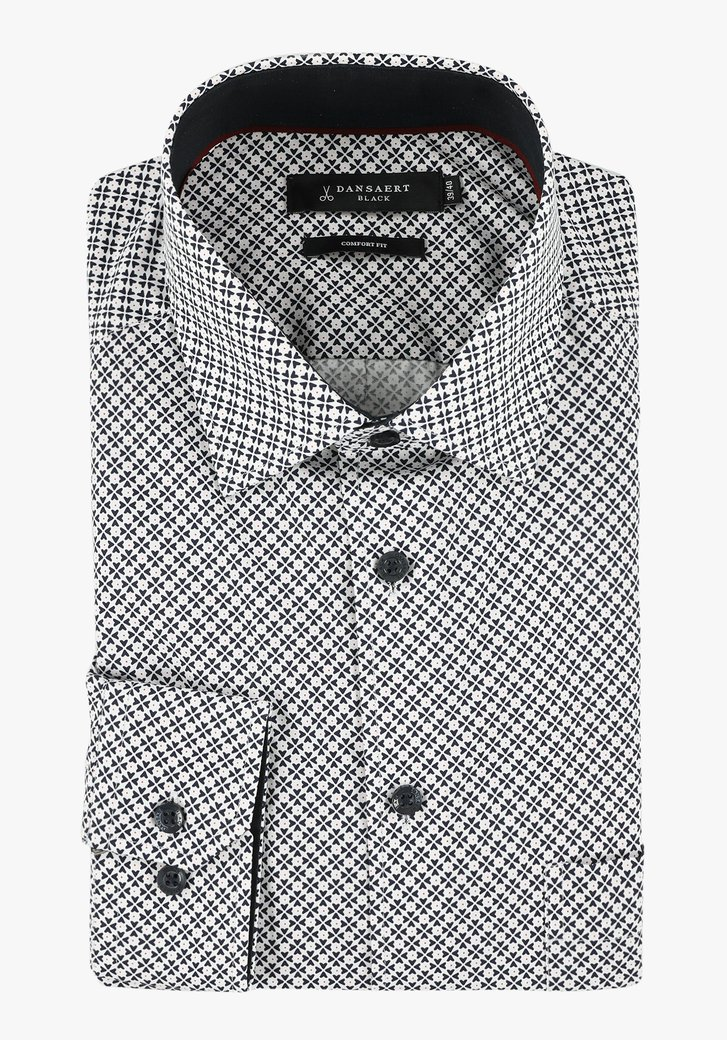 Wit hemd met navy print - comfort fit