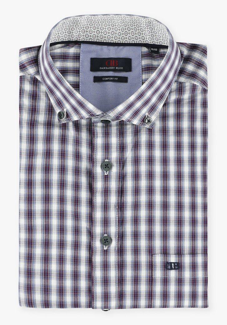 Wit hemd met paars geruit patroon - comfort fit