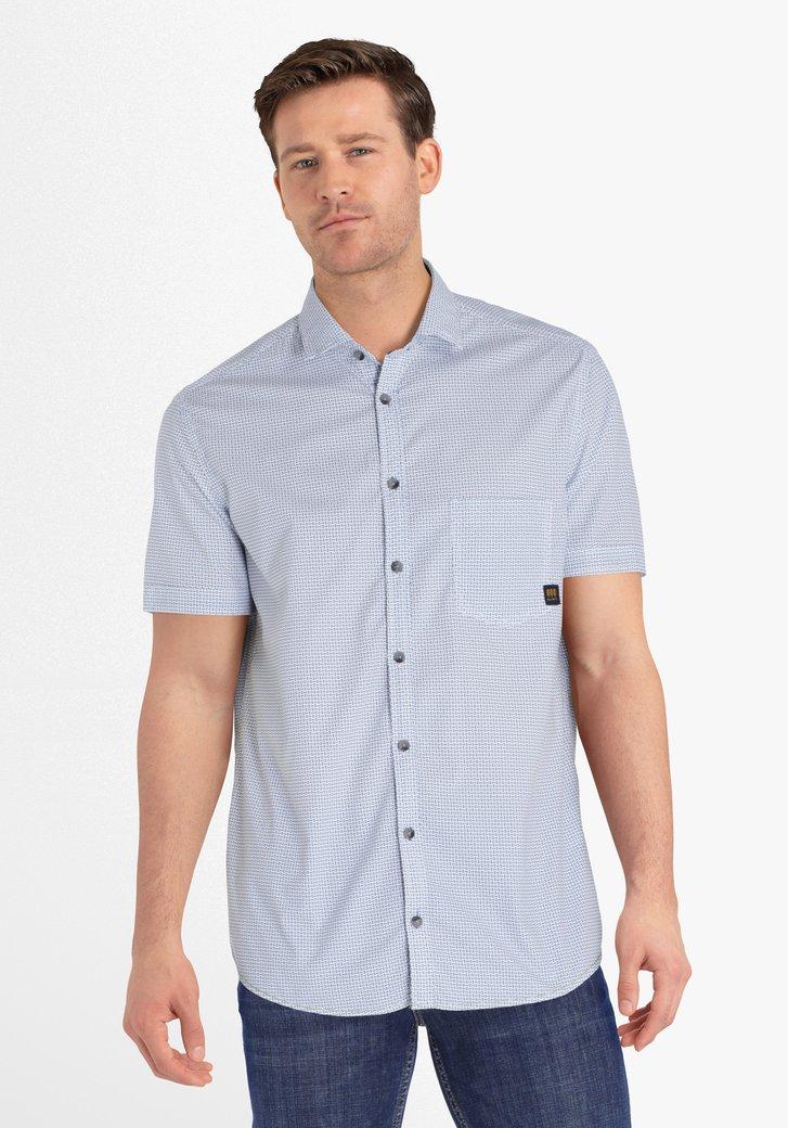 Wit hemd met petrolgroene print - regular fit
