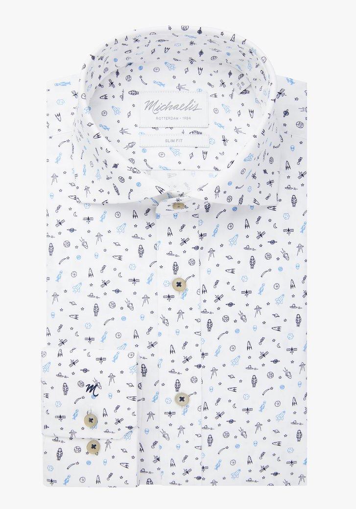 Wit hemd met planeten - slim fit