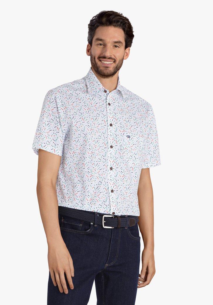 Wit hemd met print en korte mouwen - regular fit