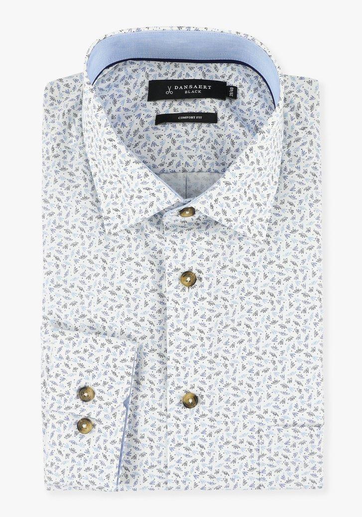Wit hemd met print in blauwtinten - comfort fit