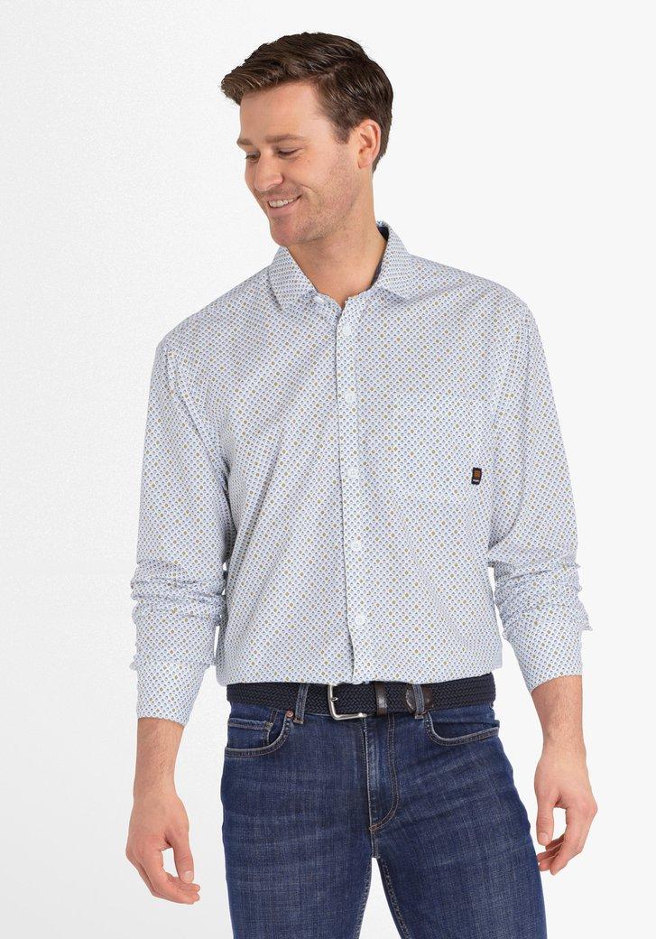 Wit hemd met staalblauw-gele print - regular fit