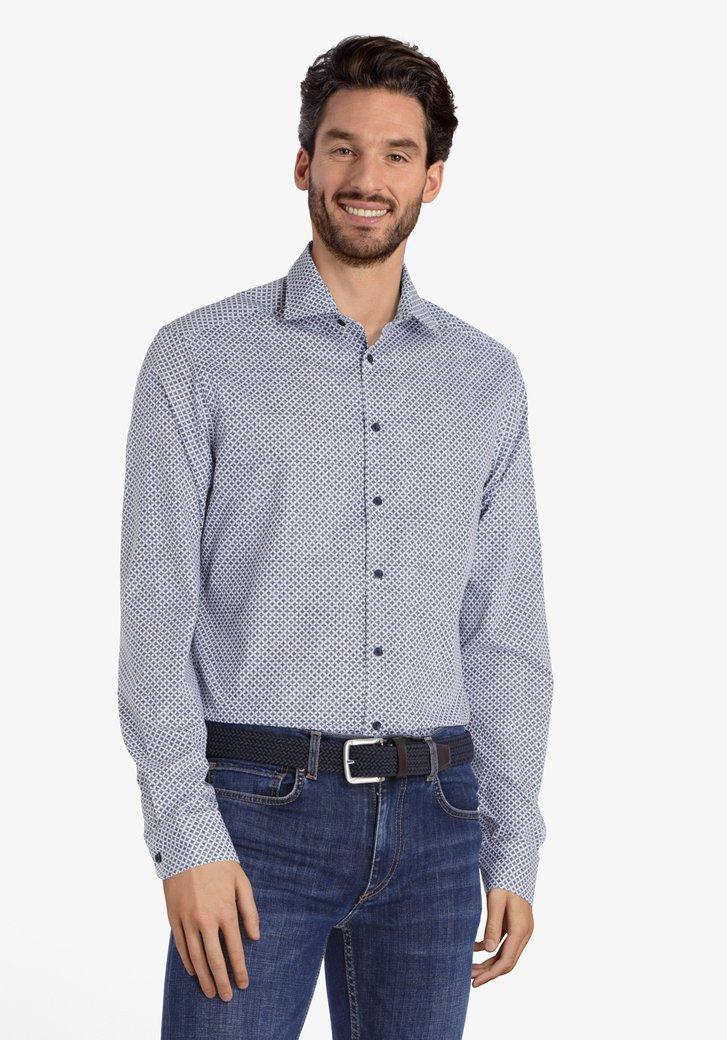 Wit hemd met staalblauwe print - regular fit