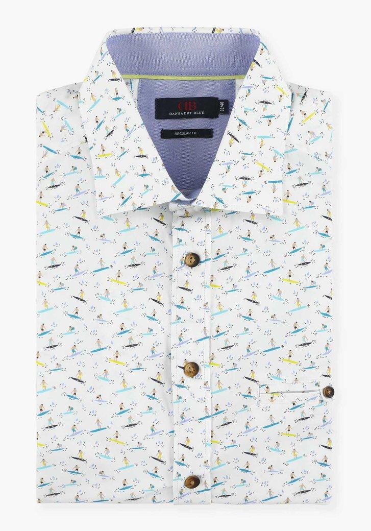 Wit hemd met surfersprint - regular fit