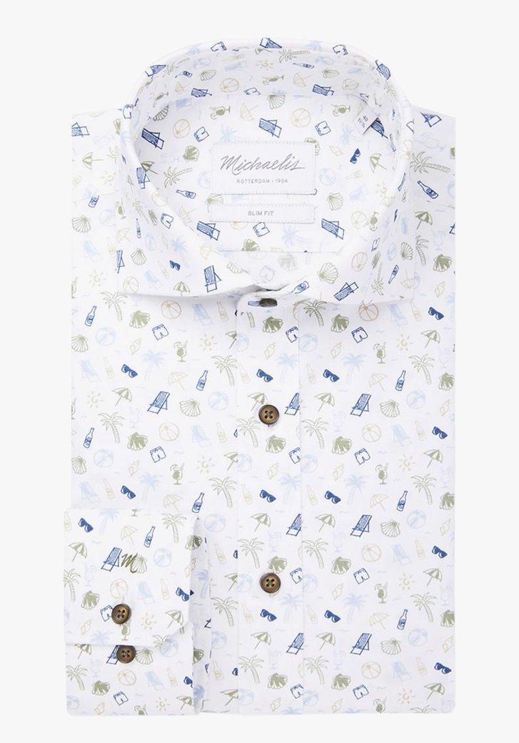 Wit hemd met vakantieprint - slim fit