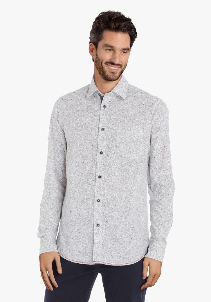 Wit hemd met zachtgroene letters – regular fit
