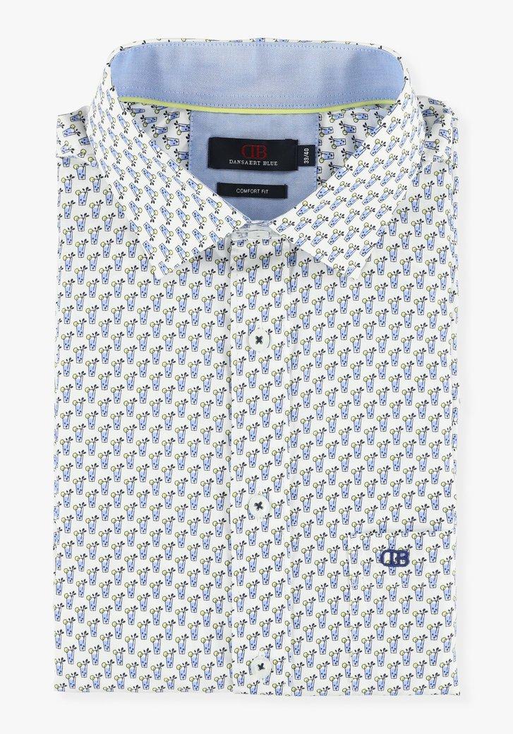 Wit hemd met zomerse print - comfort fit