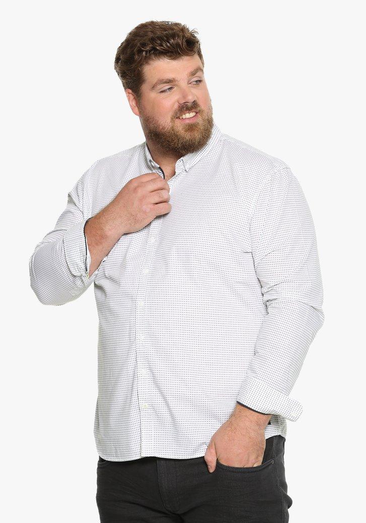 Wit katoenen hemd met fijne print