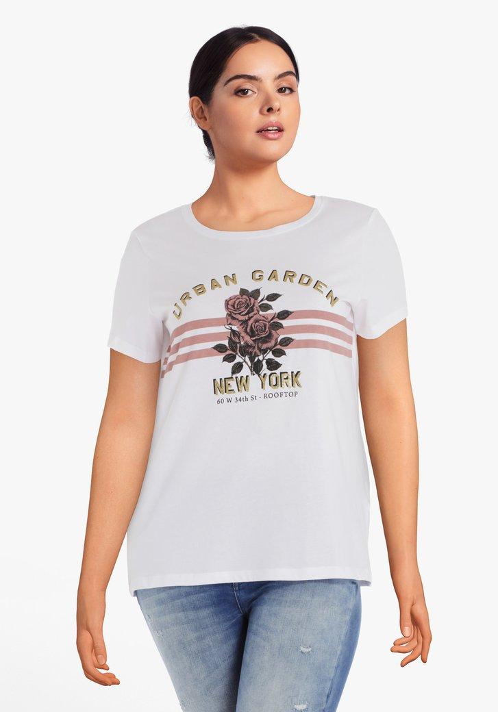 Afbeelding van Wit katoenen T-shirt met oudroze rozen