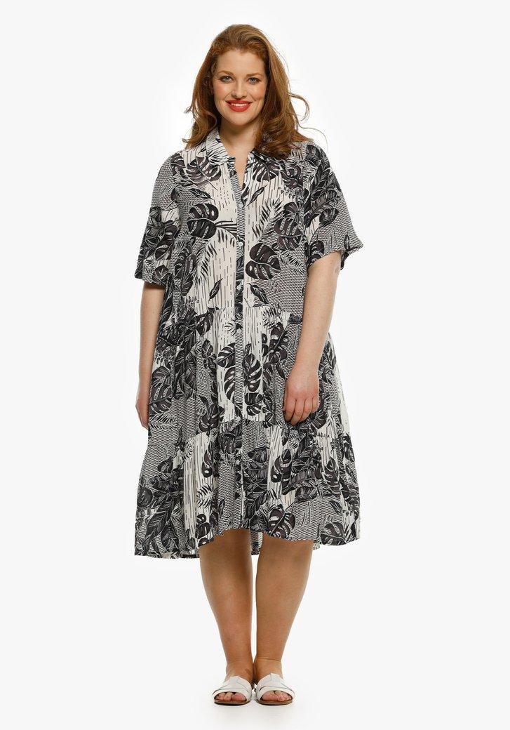 Wit kleed met tropische navy print