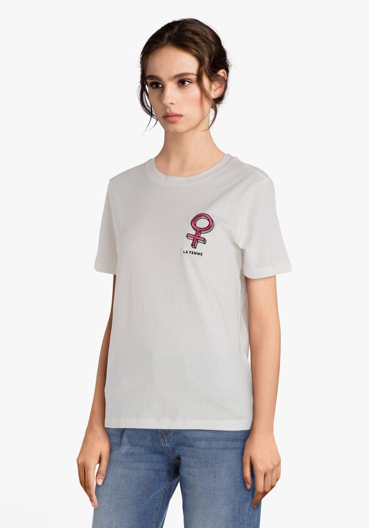 """Wit T-shirt """"LA FEMME"""""""