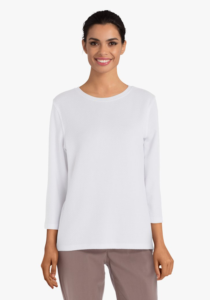 Wit T-shirt in structuurstof