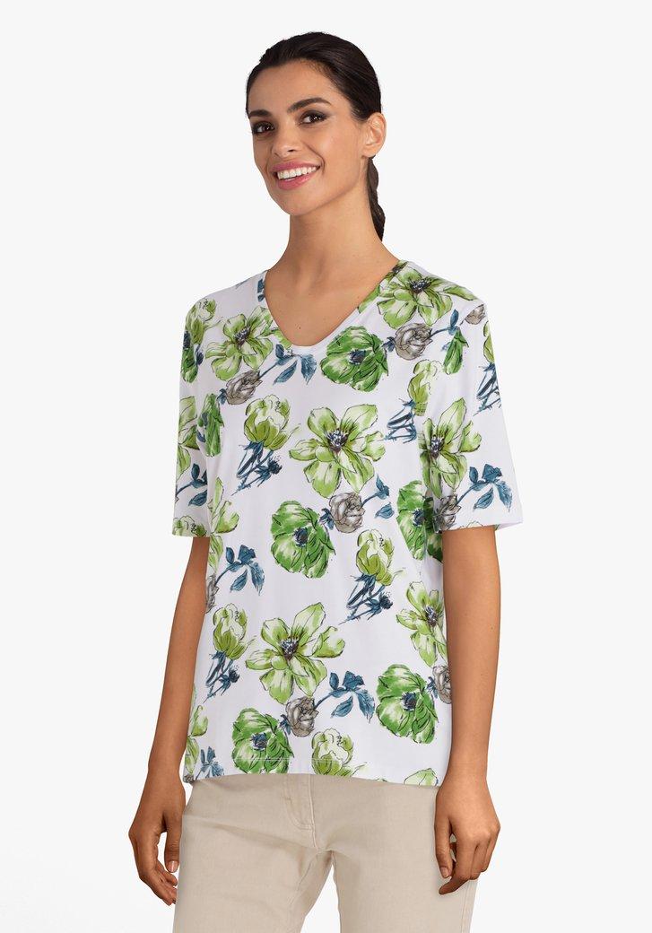 Wit T-shirt met groene bloemen